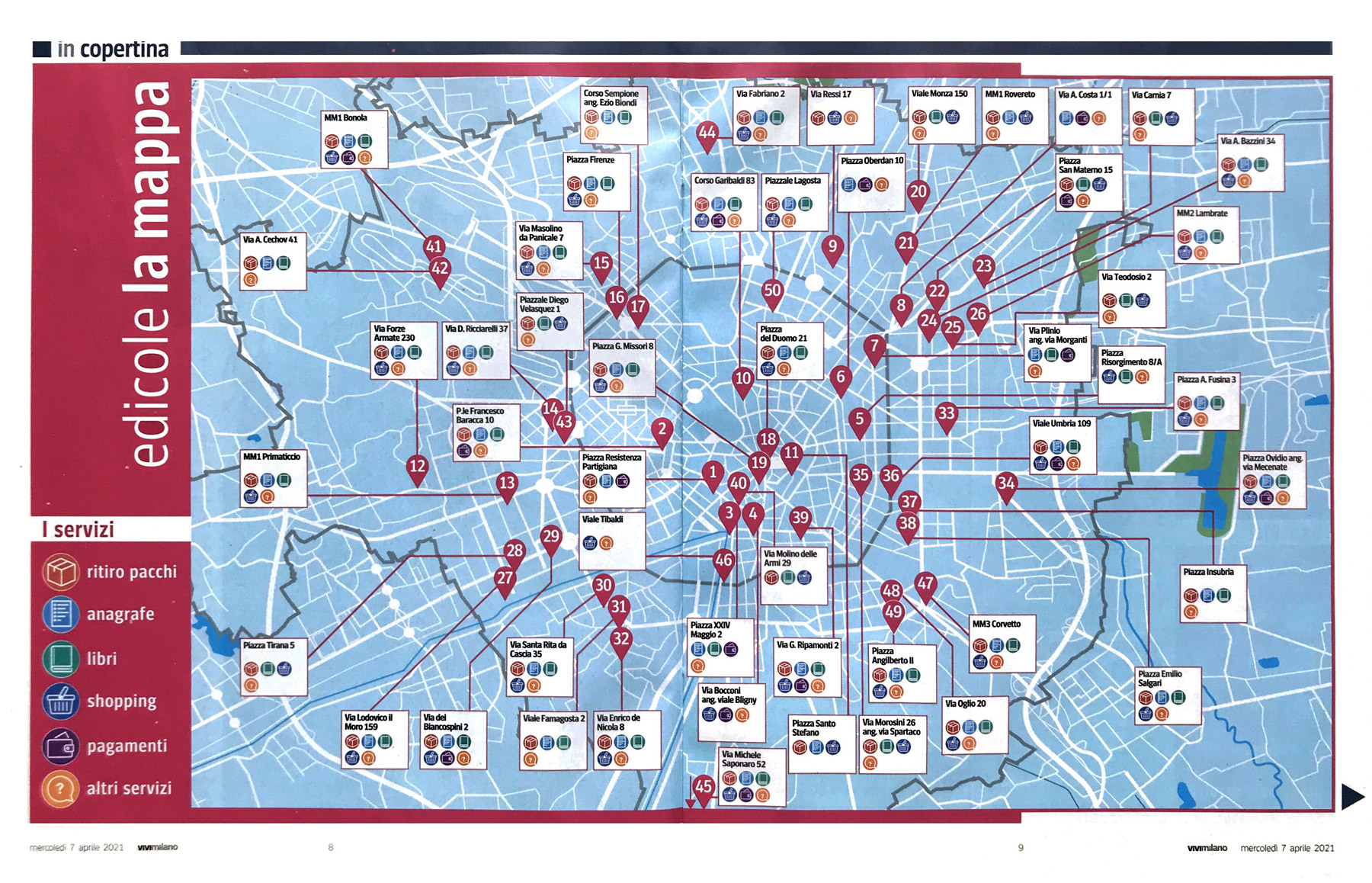 Edicole Smart Milano - Mappa