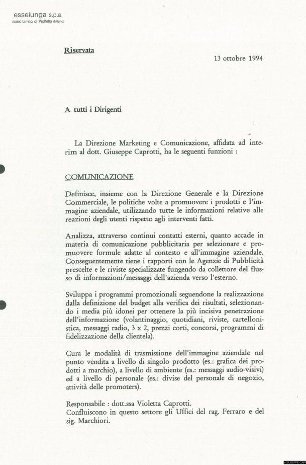 """Uno dei due allegati alla lettera del dottor Fossati che spiegano """"cosa è il marketing"""" in Esselunga."""