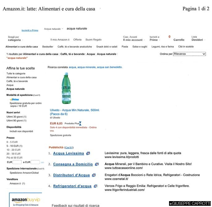 Amazon acqua naturale