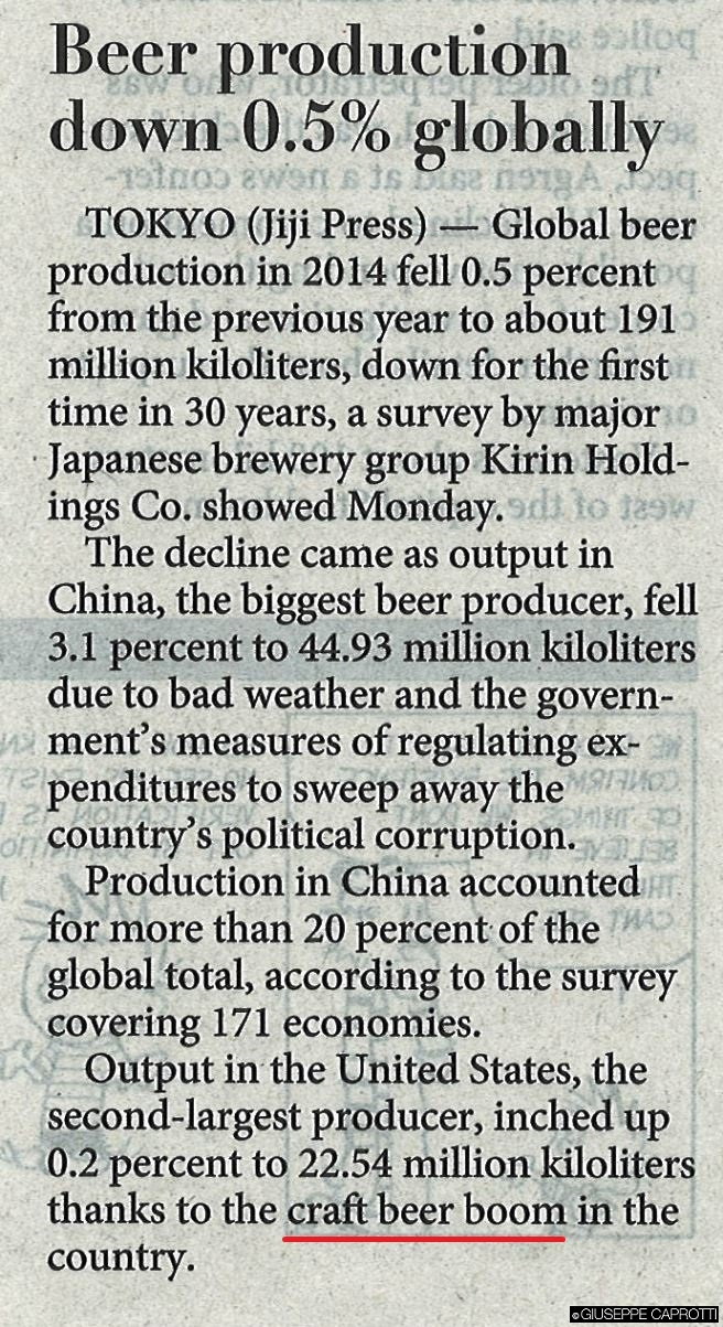 Beer production down japan times august 2015