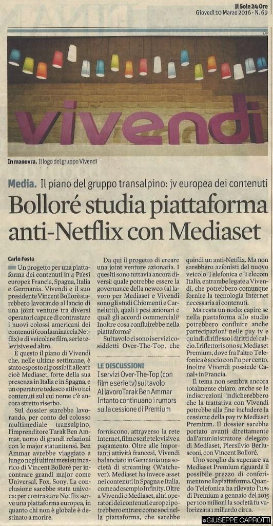 Bollore anti Netflix il sole 10 marzo 2016