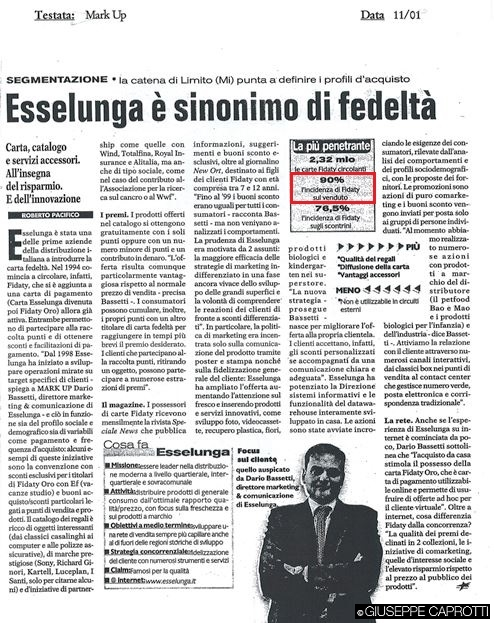 Esselunga è sinonimo di fedeltà mark up 2001