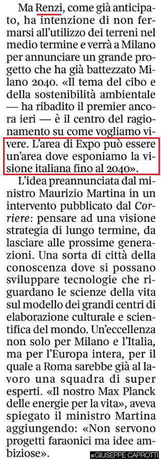 Expo Renzi Corriere 4 novembre 2015