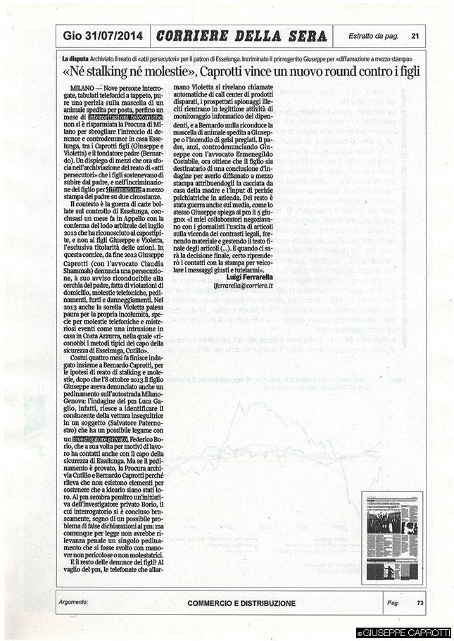 Ne stalking ne molestie Corriere 31 luglio 2014