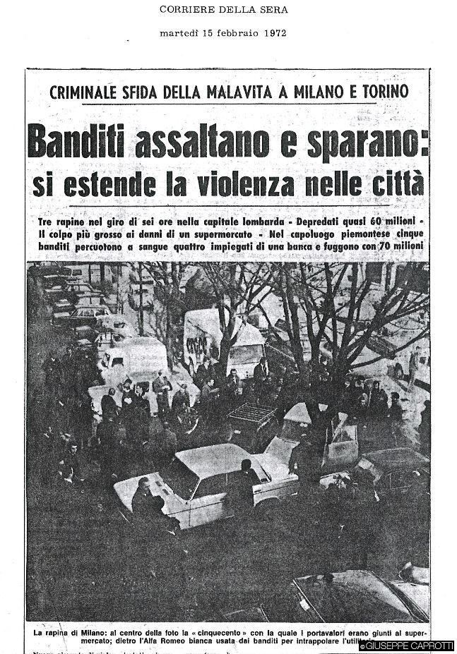 banditi assaltano supermercato feb 1972