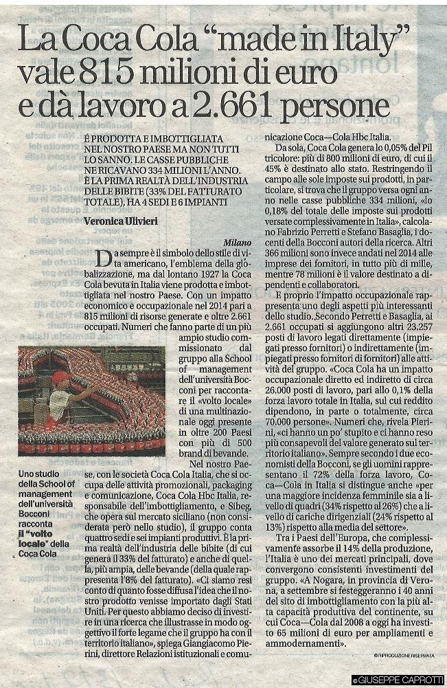 coca cola made in Italy repubblica 13 luglio 2015