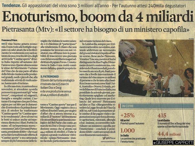 enoturismo boom da 4 miliardi il sole 24 ore 25 settembre 2015