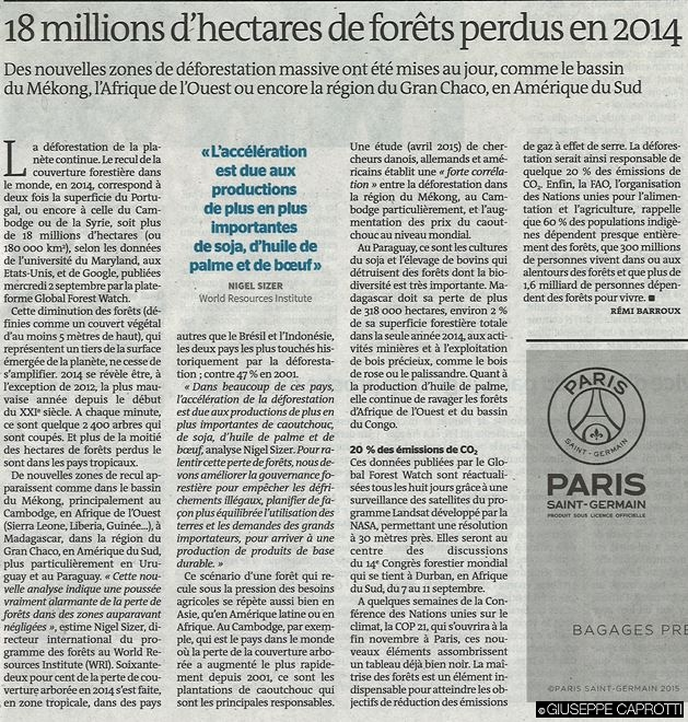 forests perdues en 2014 le Monde sept 2015