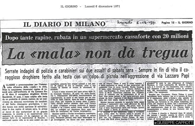 la mala non da tregua 1 dicembre 1972 viale Monza