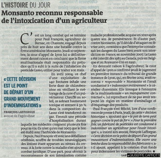 monsanto reconnu responsable d'un agriculteur 12 septembre 2015