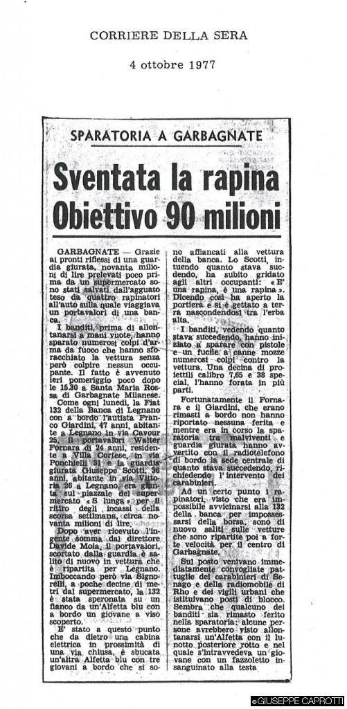 sventata la rapina garbagnate 1977